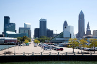 A nice view of downtown Cleveland just before docking on the pier on the left.