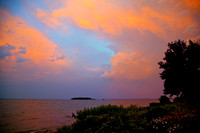 Early Sunset Colors after a storm, looking from Middle Bass Island Towards Ballast Island