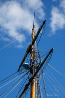 The rigging at the top of the main mast
